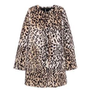 H&M Faux Fur Leopard Print Coat